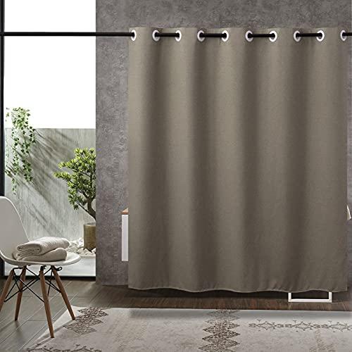 MRBJC Cortina de ducha, antimoho, impermeable, lavable, antibacteriana, cortina de baño de poliéster, con ganchos, 150 x 180 (agujeros pequeños)