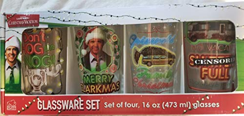 National Lampoon's Christmas Vacation - Glassware Set, Set of Four, 16 oz (473ml) glasses