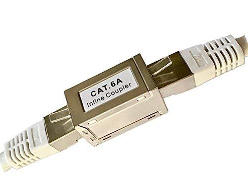 odedo® 2er Pack CAT 6A 10G 10Gigabit RJ45 LAN Verbinder Metall geschirmt extra klein nur 3x1.7x1.6cm, Kupplung CAT 6, 6A & CAT 7 Netzwerkkabel verlängern, Inline-Coupler STP