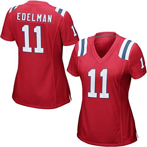 cjbaok Womens Patriots 12 Brady 11 Edelman 87 Fußballbekleidung T-Shirt Sports Kurzärmliges Oberteil,Red-11,L
