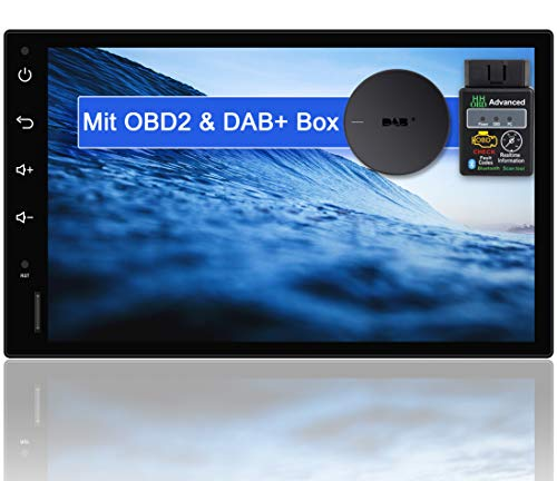 "Tristan Auron BT2D7018A Android 10 Autoradio mit Navi + OBD 2 und DAB+ Box I 7\"" Touchscreen GPS Bluetooth Freisprecheinrichtung I 32GB ROM I WiFi USB SD 2 DIN"