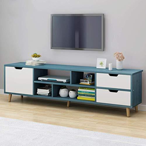 Rek Entertainment Stand TV kast TV staan opslagconsole met kastdeur media console voor woonkamer TV kast met open opslagplanken media console multimedia Studio Collectio 120 x 30 x 38 cm, blauw