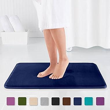 Genteele Memory Foam Bath Mat Non Slip Absorbent AND BEST Super Cozy Velvet Bathroom Rug Carpet (Navy, 22  X 36 )
