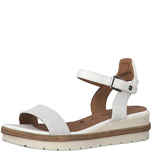 Tamaris Mujer Sandalias de Vestir 28328-24, señora Sandalias de cuña, Zapatos del Verano,cómodo,Plana,White,40 EU / 6.5 UK