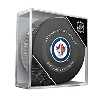 Winnipeg Jets Official Game Hockey Puck with Holder