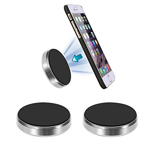Korbus [Soporte Magnético Móvil Coche Universal (2 Pack) para Móviles,  GPS,  iPhone,  Llaves. Pegar Imán en Salpicadero,  Pared,  Muebles (Incluye) Adhesivos 3M + 4 Placas Metálicas (Plateado)