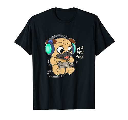 Homme Cute Gaming Pug Dog Jeu Vidéo Ordinateur Joueur Jeu...