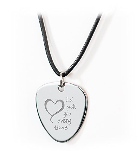 Personalised 'I Pick You' Guitar Plectrum/Pick Leather Necklace Engraved - Enter Your Custom Text