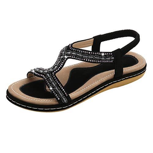 Sandalen für Damen,Dorical Damenschuhe Mädchen böhmischen Mode Flache Casual Sandalen Strand Sommer Flache Schuhe Frau Geschenk 36-43 EU Reduziert(Schwarz-1,37 EU)