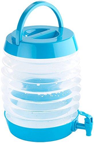 PEARL Wasserkanister: Faltbares Fässchen, Auslaufhahn, Ständer, 7,5 Liter, blau/transparent (Wasserkanister faltbar)