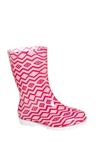 TOMS Rain Boots Pink Chevron PVC 10006284 Youth 3