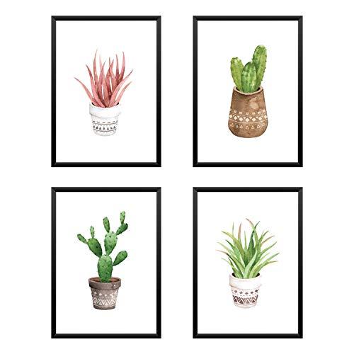 Set di 4 poster cactus acquerello. arredo casa, quadro, regalo, negozio, ufficio, camera da letto stampe d'arte A4 21x29,7cm