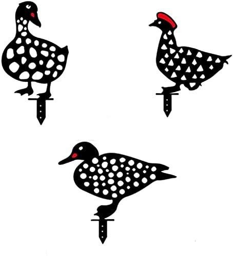Gallo de la silueta de animales de gallo para yardas, 5pc yarda artística estatuas de pollo, gallina de metal Arte de la yarda de país, decoración de sombras para jardín patio patio jardín césped porc