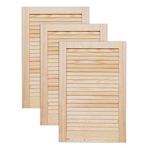 Lamellentür Holztür natur 605 x 394 x 21 mm mit geschlossenen Lamellen für Regale, Schränke, Möbel | Kiefer Holz unbehandelt | Dreier Paket 3-er Pack