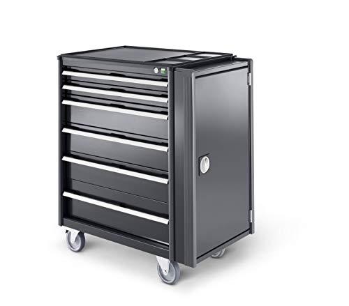 Werkstattwagen mit 6 Schubladen, Kunststoffauflage, perfo-Schrank