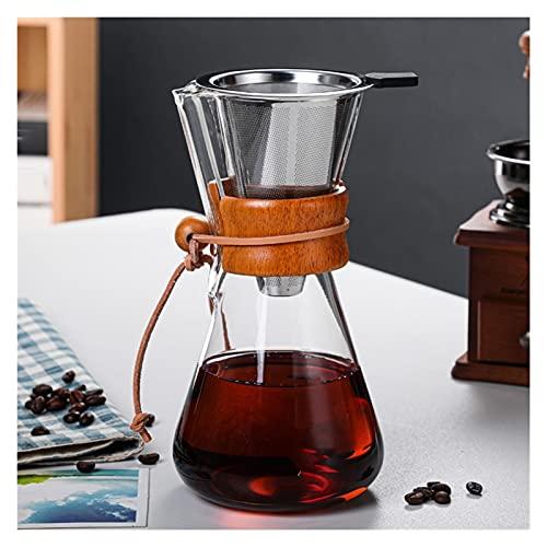 YJSS JXXXJS Máquina de café 400ml 600ml 800ml Filtro Permanente de Acero Inoxidable Reutilizable Manual de Gota de café Manual con Manga de Madera (Color : 600ML Filter A Style)