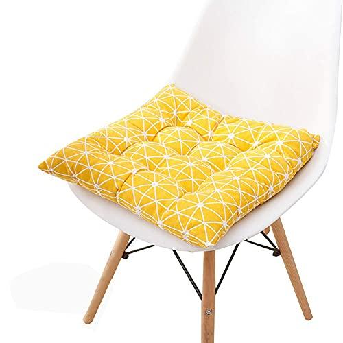 Pillowcase 123 Set di 4 Cuscini per sedie da Pranzo Cuscini per sedie in Cotone al 100% Cuscini per sedie con Cinghie Antiscivolo Cuscini per sedie per Giardino da Cucina all'aperto