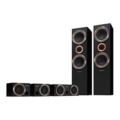"Pioneer S-RS55TB 660W RMS 5.0-CH Home Theatre Speaker Package with 2 x 6.5"" Woofer Cone 2-Way Vertical Twin System Bass-Reflex Floor-standing Front Speakers, Full Range Center and Surround Speakers"