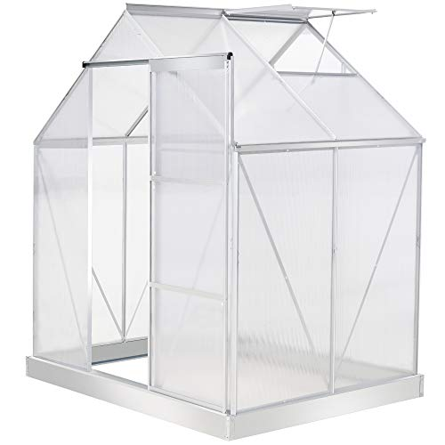 Outsunny 6 x 4 FT Walk-In Greenhouse Polycarbonate Panels Aluminium Frame w/Sliding Door Adjustable Window 2.5㎡ Inner Area Plant Vegetable Flower Grow Green House Protection