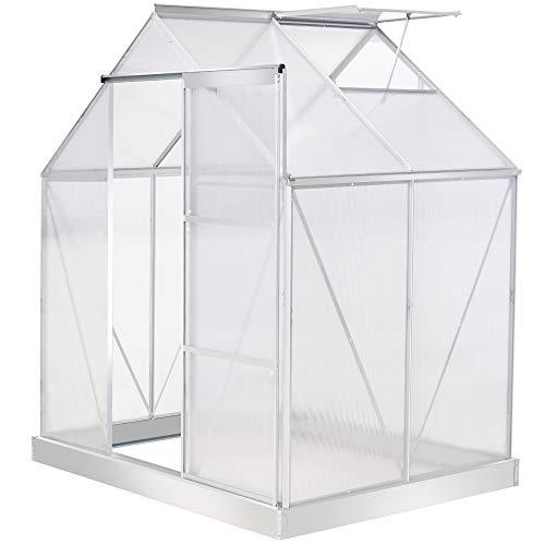 Outsunny 6 x 4 FT Walk-In Greenhouse Polycarbonate Panels Aluminium Frame w/Sliding Door Adjustable Window 2.5㎡ Inner...