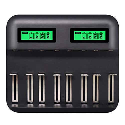 Lood Multifunctional 8-Bay Battery Charger LCD Display Fast Charging for Type D/C AA AAA Rechargeable Batteries