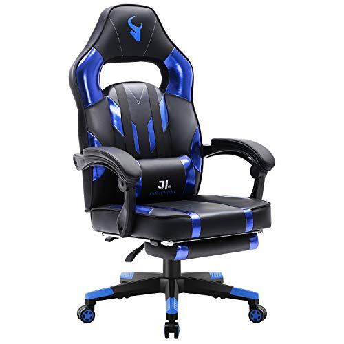 JL Comfurni Gaming Stuhl Bürostuhl Racing Stuhl mit Fußstütze Ergonomischer Chefsessel Computerstuhl 360° drehbar Lehnstuhl Kunstleder höhenverstellbar Schreibtischstuhl mit lendenkissen Hellblau