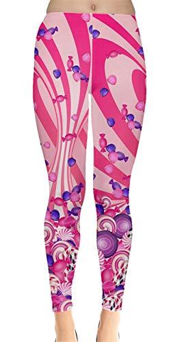 CowCow Damen-Leggings mit Lollipop-Design, für Süßigkeiten, Eiscreme, Kaffee, Essen, Dessert, Süßigkeiten, XS-5XL - Pink - 4X-Groß