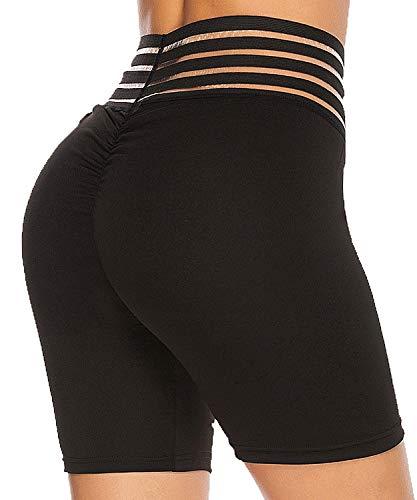 FITTOO Pantalones Cortos Capris 4/4 Leggings Mujer Mallas de Yoga Alta Cintura Elásticos y Transpirables #4 Negro Alargado S