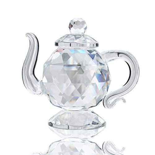 Clear Crystal Teapot Figurine Paperweight Art Craft Collection Table Centerpiece