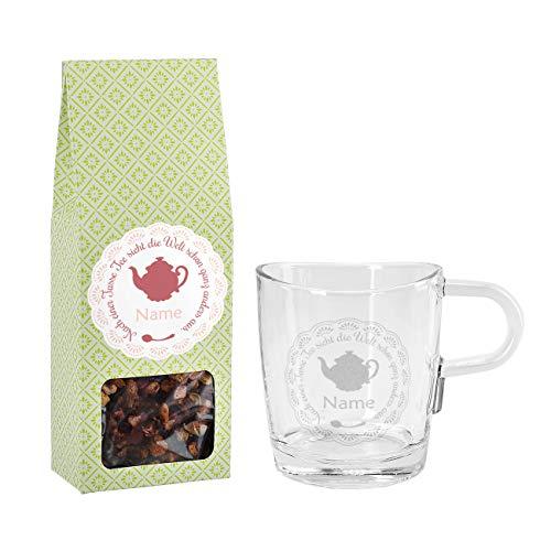 Herz & Heim® Teegeschenk mit gravierter Leonardo Loop Glastasse und einem Früchtetee Nach einer Tasse Tee