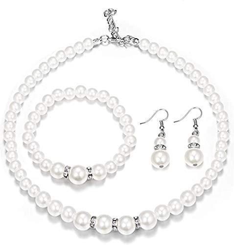YUIP Collar de Perlas de Imitación, Aretes, Pulsera, Conjunto de Tres Piezas de Joyería de Temperamento, Elegante Conjunto de Joyas para Mujeres, Niñas, Cumpleaños, Bodas