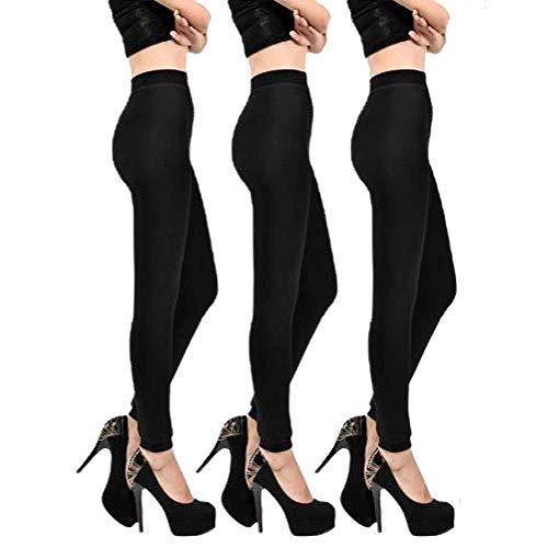 Trendcool. 3x Leggins Térmicos Mujer. Mallas Térmicas Mujer Negras, Talla Única. Cómodos Leggins para Mujer Invierno. Pantalón Térmico. No Transparenta (3)