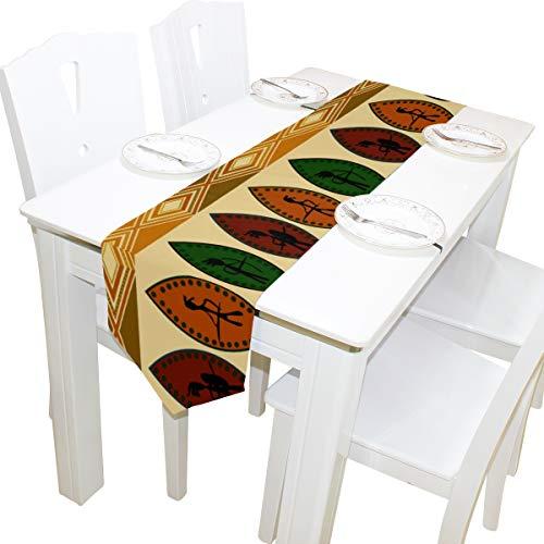 Yushg African Tribal Ethnic Style Art Kommode Schal Tuch Abdeckung Tischläufer Tischdecke Tischset Küche Esszimmer Wohnzimmer Home Hochzeitsbankett Dekor Indoor 13x90 Zoll