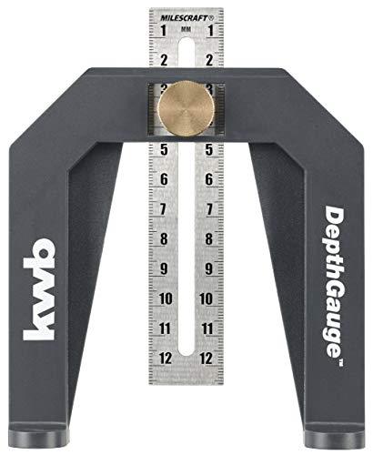kwb 092100 Tiefenmesser/Tiefenlehre für Ober-Fräsen und Tischkreissägen inkl. 2 Mess-Skalen in cm und inch