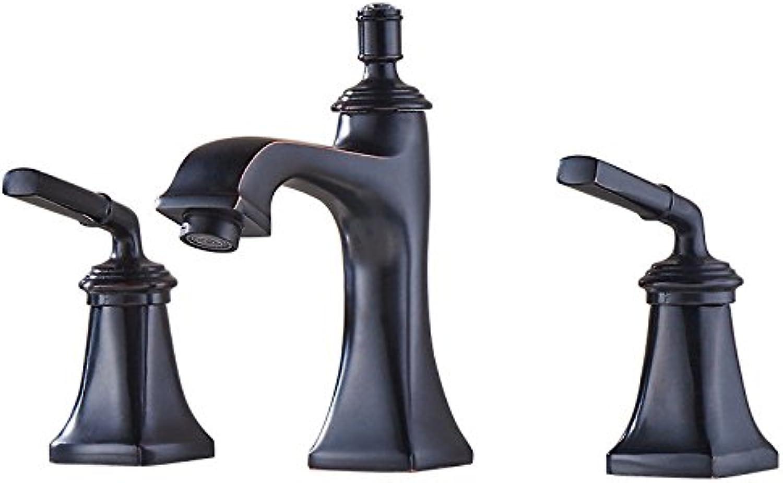 AQMMi Waschtischarmatur Wasserhahn Retro 3 Bohrungen Heies Und Kaltes Wasser 2 Stück 2-Hebel Schwarz 3-Teiliges Set Badezimmer Mischbatterie