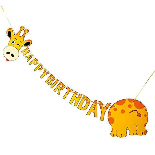 Banner Feliz Cumpleaños, Jirafa Banner Happy Birthday Animales para Decoración Fiesta, Banner Decoración Fiesta Cumpleaños Tema Animales, Suministros Fiestas Cumpleaños Niños y Niñas