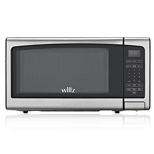 Willz WLCMJ411S2-10 Countertop Microwave Oven, 6 Cooking Programs, LED Lighting Push Button, 1.1 Cu Ft, Stainless Steel