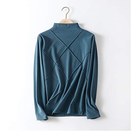 Xin Hai Yuan Conjunto de ropa interior térmica de cuello alto para mujer con capa base, azul, XL