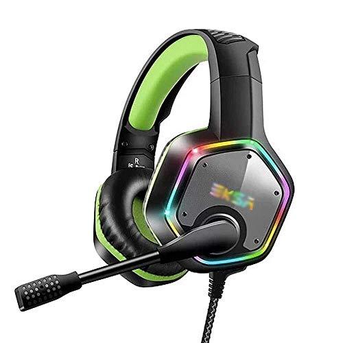 Syyyin Auricolare Di Gioco Wired, RGB Auricolare Di Gioco Luminoso, Con Il Microfono Di Auto-rumore Suono Stereo Surround 7.1 Riduzione Di Un Tasto Mute Gaming Headset Professionale (verde / Grigio)