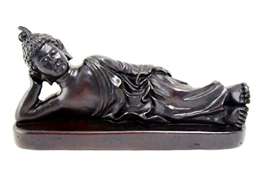 Land of Simple Treasures Reclining Buddha Statue, Sleeping Nirvana Meditation Sculpture - Thai Buddhist Figurine, Feng Shui Home Decor, Small Resin 5.5 Inch (Midnight Black)