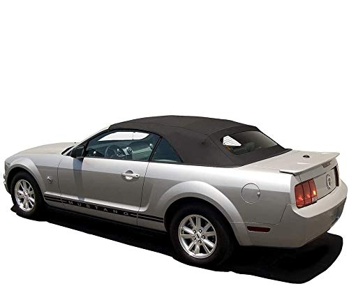 AutoBerry: Ford Mustang Convertible Top (2005-2014) Complete Factory Style Heated Glass Window in Sailcloth Vinyl Black