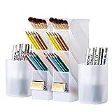 4 Pcs Pen Organizer, Desk Organization, Wellerly Cute Desk Pencil Markers Holder Storage Box Set Multi-Functional Stationary Desktop Cup Organizers for Home Room / Office / School Art Supply - White