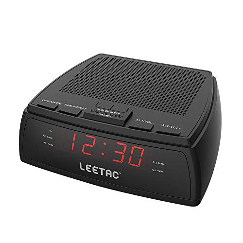 LEETAC AM & FM Radio Dual Alarm Clock with LED Display & Sleep/Snooze Timers