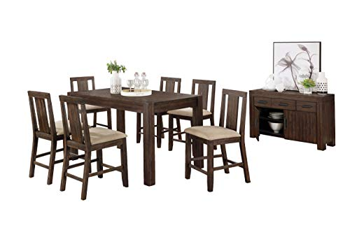 Best Quality Furniture 7pc Counter Height Set (1 Table + 6 Chairs), Rustic wood