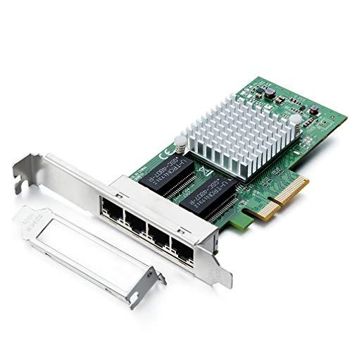 H!Fiber.com Tarjeta de Red Gigabit PCIE para Intel Intel I350-T4 - Chip I350, con Puertos Quad RJ45, Tarjeta LAN Ethernet PCI Express de 1 Gbit para Windows Server, Win7, 8, 10, XP y Linux