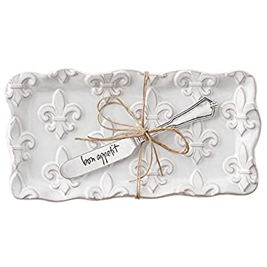 Mud Pie 4874008 Fleur de Lis Butter Dish Set, White