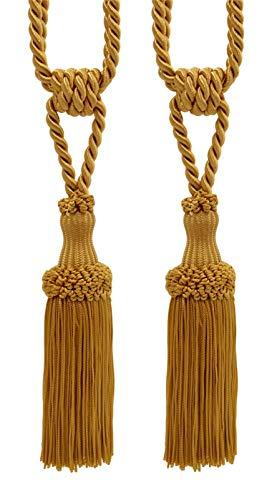 Pair Of Premium Gold Decorative Chainette Tiebacks, 13cm Tassel Length, 76cm Spread (embrace), COLOR: Gold - C4