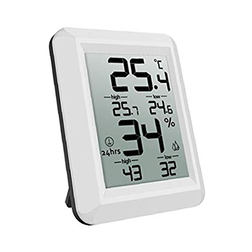 TiooDre Digital Greenhouse Thermometer Monitor Max and Min Temperatures Use Garden Greenhouse Home Used Indoor Outdoor Hook Hole Wall Mounted-Black