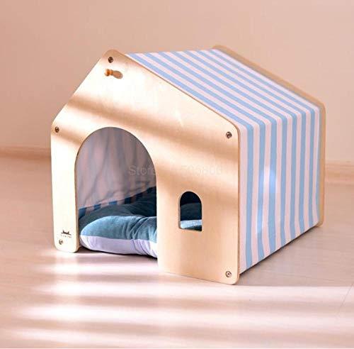 Pet Supplieskennel Teddy Hondenhok voor binnen afneembaar en wasbaar Warm houten hondenhok