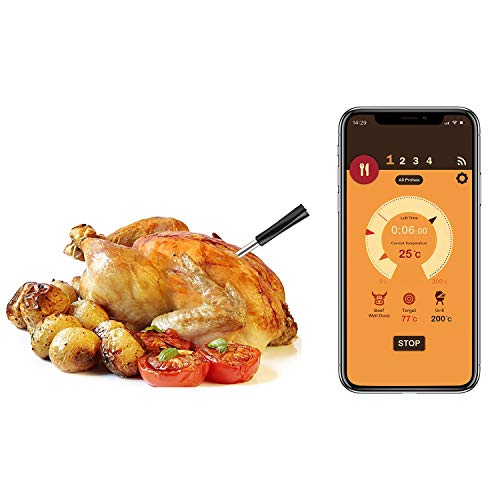 Wireless Meat Thermometer,Food Thermometer with Bluetooth Connectivity for The Oven,Grill, Kitchen